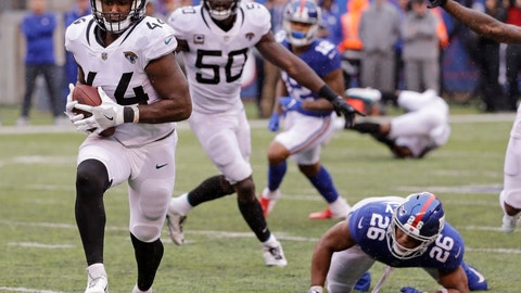 <p>               New York Giants' Saquon Barkley (26) watches as Jacksonville Jaguars' Myles Jack runs back an interception for a touchdown during the second half of an NFL football game Sunday, Sept. 9, 2018, in East Rutherford, N.J. (AP Photo/Seth Wenig)             </p>