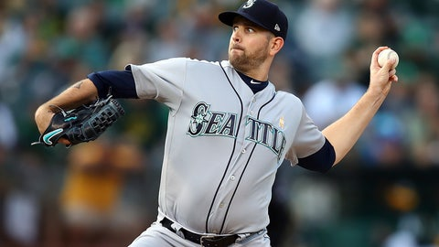 <p>               Seattle Mariners pitcher James Paxton works against the Oakland Athletics during the first inning of a baseball game Saturday, Sept. 1, 2018, in Oakland, Calif. (AP Photo/Ben Margot)             </p>