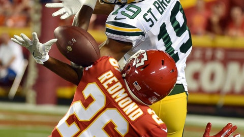 <p>               Kansas City Chiefs cornerback Will Redmond (26) breaks up a pass intended for Green Bay Packers wide receiver Equanimeous St. Brown (19) during the first half of an NFL preseason football game in Kansas City, Mo., Thursday, Aug. 30, 2018. (AP Photo/Ed Zurga)             </p>