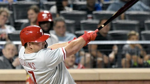 <p>               Philadelphia Phillies batter Rhys Hoskins hits a home run during the eighth inning of a baseball game against the New York Mets, Friday, Sept. 7, 2018 in New York. (AP Photo/Bill Kostroun)             </p>