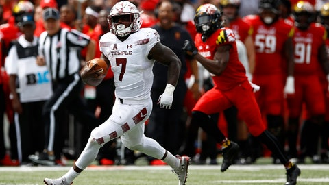 <p>               Temple running back Ryquell Armstead rushes for a first down in the first half of an NCAA college football game against Maryland, Saturday, Sept. 15, 2018, in College Park, Md. (AP Photo/Patrick Semansky)             </p>