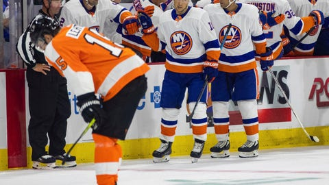 <p>               New York Islanders' Jan Kovar, center, celebrates his goal with teammates as Philadelphia Flyers' Jori Lehtera, left, skates off the ice during the second period of a preseason NHL hockey game Friday, Sept. 21, 2018, in Allentown, Pa. (AP Photo/Chris Szagola)             </p>