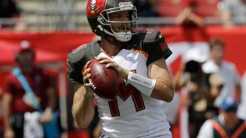 <p>               Tampa Bay Buccaneers quarterback Ryan Fitzpatrick (14) looks to pass,during the first half of an NFL football against the Philadelphia Eagles, Sunday, Sept. 16, 2018, in Tampa, Fla. (AP Photo/Chris O'Meara)             </p>