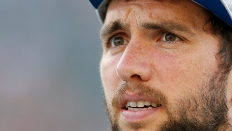<p>               FILE - In this Aug. 30, 2018, file photo, Indianapolis Colts quarterback Andrew Luck works the sidelines before the first half of an NFL preseason football game against the Cincinnati Bengals, in Cincinnati. When Andrew Luck gazes over Cincinnati's defense Sunday, he'll see some of the league's top pass rushers.(AP Photo/Gary Landers, File)             </p>