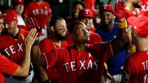 <p>               Texas Rangers' Adrian Beltre (29) gets congratulated after hitting a solo home run against the Minnesota Twins during the fourth inning of a baseball game, Saturday, Sept. 1, 2018, in Arlington, Texas. (AP Photo/Michael Ainsworth)             </p>