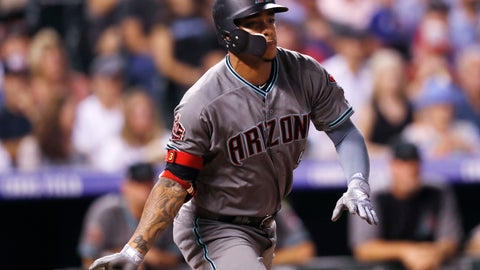<p>               Arizona Diamondbacks' Ketel Marte follows the flight of his triple to drive in two runs off Colorado Rockies starting pitcher Antonio Senzatela in the sixth inning of a baseball game, Tuesday, Sept. 11, 2018, in Denver. (AP Photo/David Zalubowski)             </p>