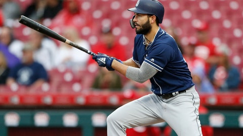 <p>               San Diego Padres' Eric Hosmer singles off Cincinnati Reds starting pitcher Tyler Mahle during the third inning of a baseball game, Sunday, Sept. 9, 2018, in Cincinnati. (AP Photo/Gary Landers)             </p>