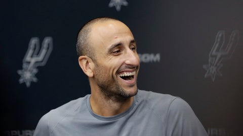 <p>               Former San Antonio Spurs guard Manu Ginobili jokes with the media at the NBA basketball team's practice facility, Saturday, Sept. 15, 2018, in San Antonio. Ginobili recently retired at age 41 after 16 seasons with the Spurs and helping them win four NBA championships. (AP Photo/Eric Gay)             </p>