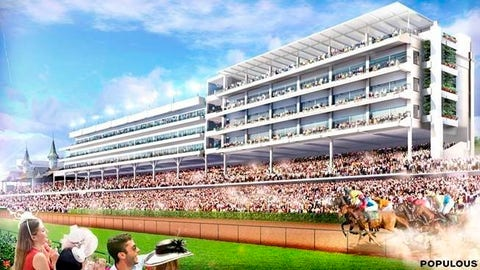 <p>               This artist rendering provided by Churchill Downs shows the infield view of a rooftop lounge and garden, top right, at Churchill Downs in Louisville, Ky. The racetrack announced plans on Wednesday, Sept. 19, 2018, for the $5 million expansion of the Starting Gate Suites. Construction of 20,000-square-foot rooftop garden is expected to begin after the Nov. 2-3 Breeders' Cup World Championships and be completed prior to the 2019 Kentucky Derby. (Churchill Downs via AP)             </p>