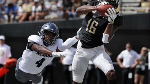 <p>               Vanderbilt wide receiver Kalija Lipscomb (16) catches a 2-yard touchdown pass ahead of Nevada defensive back EJ Muhammad (4) in the first half of an NCAA college football game Saturday, Sept. 8, 2018, in Nashville, Tenn. (AP Photo/Mark Humphrey)             </p>