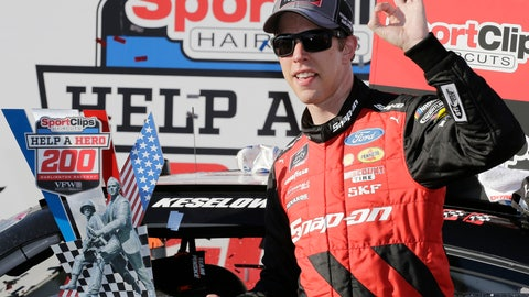 <p>               Brad Keselowski stands with his trophy in Victory Lane after winning the NASCAR Xfinity Series auto race at Darlington Raceway, Saturday, Sept. 1, 2018, in Darlington, S.C. (AP Photo/Terry Renna)             </p>
