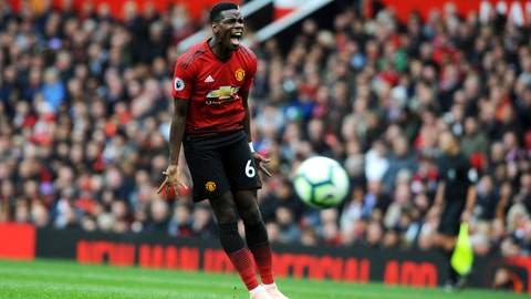 <p>               Manchester United's Paul Pogba reacts during the English Premier League soccer match between Manchester United and Wolverhampton Wanderers at Old Trafford stadium in Manchester, England, Saturday, Sept. 22, 2018. (AP Photo/Rui Vieira)             </p>