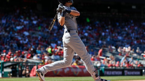 <p>               Milwaukee Brewers' Christian Yelich watches the ball clear the outfield wall after hitting a grand slam off Washington Nationals relief pitcher Tim Collins during the fifth inning of a baseball game at Nationals Park, Sunday, Sept. 2, 2018, in Washington. (AP Photo/Pablo Martinez Monsivais)             </p>