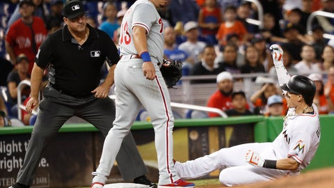 <p>               Miami Marlins' Derek Dietrich, right, slides into third base after hitting a triple during the second inning of a baseball game against the Philadelphia Phillies, Monday, Sept. 3, 2018, in Miami. (AP Photo/Brynn Anderson)             </p>