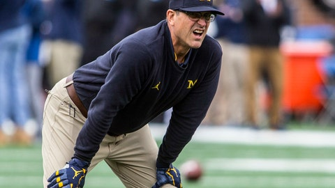 <p>               FILE - In this Saturday, Sept. 8, 2018, file photo, Michigan head coach Jim Harbaugh watches his team warmup before an NCAA college football game against Western Michigan in Ann Arbor, Mich.  No. 19 Michigan aim to maintain momentum generated by last week's 49-3 win over Western Michigan after opening with a seven-point loss at Notre Dame. SMU is playing for pride, hoping to have a respectable showing after losing to No. 16 TCU and North Texas by a combined score of 88-35. (AP Photo/Tony Ding, File)             </p>