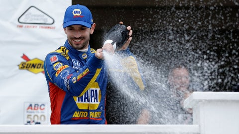 <p>               Alexander Rossi celebrates in Victory Lane after winning the IndyCar auto race at Pocono Raceway, Sunday, Aug. 19, 2018, in Long Pond, Pa. (AP Photo/Matt Slocum)             </p>