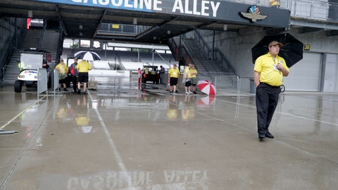 <p>               Security personnel attempt to shield themselves from the rain that halted NASCAR Xfinity Series auto racing practice at the Indianapolis Motor Speedway in Indianapolis, Friday, Sept. 7, 2018. (AP Photo/Michael Conroy)             </p>