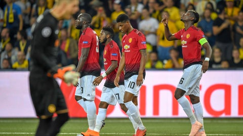 <p>               Manchester United's Paul Pogba, right, celebrates after scoring  during the Champions League group H soccer match between Young Boys and Manchester United at the Stade de Suisse in Berne, Switzerland, Wednesday, Sept. 19, 2018. (Anthony Anex/Keystone via AP)             </p>