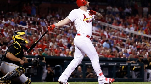 <p>               St. Louis Cardinals' Matt Adams, right and Pittsburgh Pirates catcher Francisco Cervelli watch Adams' three-run home run during the eighth inning of a baseball game Monday, Sept. 10, 2018, in St. Louis. (AP Photo/Jeff Roberson)             </p>
