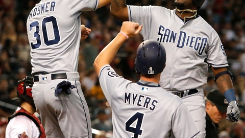 <p>               San Diego Padres Franmil Reyes gets a high fives from Eric Hosmer (30) and Wil Myers (4) after hitting a three-run home run against the Arizona Diamondbacks in the second inning during a baseball game, Monday, Sept. 3, 2018, in Phoenix. (AP Photo/Rick Scuteri)             </p>