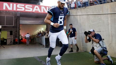 <p>               FILE -- In this Aug. 18, 2018 file photo, Tennessee Titans quarterback Marcus Mariota takes the field before a preseason NFL football game against the Tampa Bay Buccaneers in Nashville, Tenn. Mariota, the Titans' No. 2 pick overall in 2015, heads into his fourth season with only his fifth-year option guaranteed. It's time for Mariota to prove exactly what he can do, especially after the Titans swapped out coaches in January to put the quarterback into an offense that better fits both his arm and legs. (AP Photo/James Kenney, File)             </p>