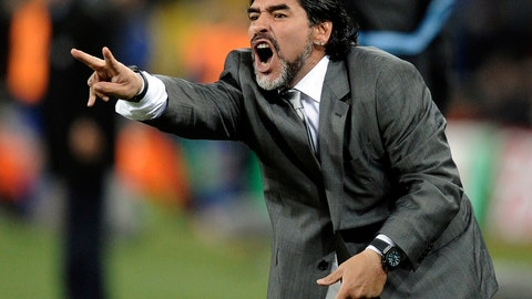 <p>               FILE - In this June 27, 2010 file photo, Argentina's head coach Diego Maradona yells from the sidelines of the World Cup round of 16 soccer match between Argentina and Mexico at Soccer City in Johannesburg, South Africa. The soccer coach of Mexico's Dorados de Sinaloa soccer team, Francisco Ramirez, was fired on Thursday, Sept. 6, 2018, and Maradona has been named the team's new coach, according to Jose Antonio Nunez. (AP Photo/Martin Meissner, File)             </p>