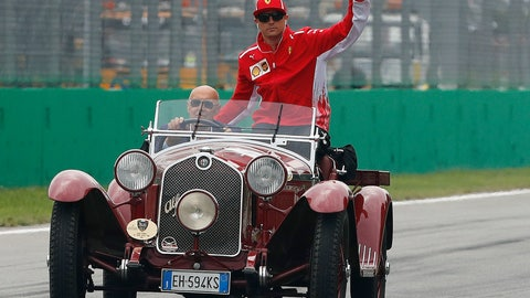 <p>               FILE - In this Sept. 2, 2018 file photo, Ferrari driver Kimi Raikkonen of Finland waves from an historical Alfa Romeo during the driver parade before the race of the Formula One Italy Grand Prix at the Monza racetrack, in Monza, Italy , Sunday Sept. 2, 2018. Kimi Raikkonen is leaving Ferrari for Sauber Alfa Romeo and will be replaced by rookie Charles Leclerc, that will team up with Sebastian Vettel. (AP Photo/Antonio Calanni)             </p>