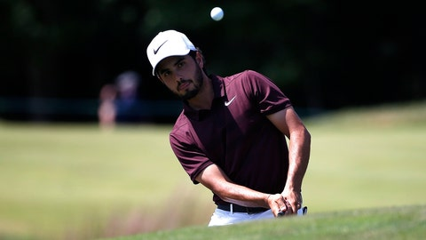 <p>               Abraham Ancer chips onto the second green during the third round of the Dell Technologies Championship golf tournament at TPC Boston in Norton, Mass., Sunday, Sept. 2, 2018. (AP Photo/Michael Dwyer)             </p>
