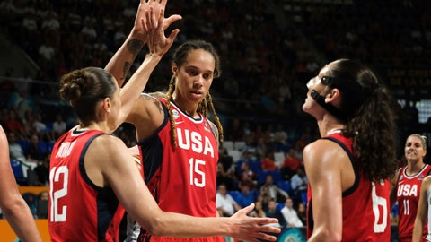 <p>               Brittney Griner of the United States celebrates with teammates during the Women's basketball World Cup semi final match between Belgium and the U.S.A. in Tenerife, Spain, Saturday Sept. 29, 2018. (AP Photo Andres Gutierrez)             </p>