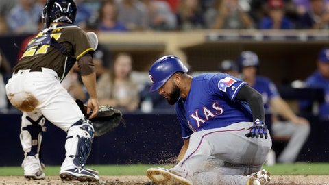 <p>               Texas Rangers' Nomar Mazara, right, scores from second off a single by Jurickson Profar as San Diego Padres catcher Francisco Mejia turns to chase the throw during the second inning of a baseball game Friday, Sept. 14, 2018, in San Diego. (AP Photo/Gregory Bull)             </p>