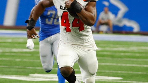<p>               Cleveland Browns defensive end Nate Orchard (44) returns an interception for a 64-yard touchdown during the first half of an NFL football preseason game against the Detroit Lions, Thursday, Aug. 30, 2018, in Detroit. (AP Photo/Rick Osentoski)             </p>