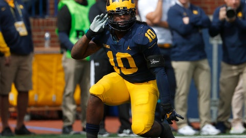 <p>               Michigan linebacker Devin Bush celebrates a stop against Nebraska in the first half of an NCAA football game in Ann Arbor, Mich., Saturday, Sept. 22, 2018. (AP Photo/Paul Sancya)             </p>