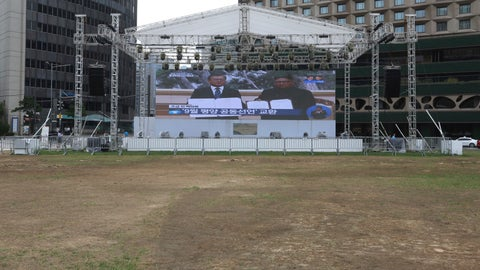 <p>               A huge screen shows South Korean President Moon Jae-in, left, and North Korean leader Kim Jong Un holding documents after signing in Pyongyang, North Korea, at Seoul Plaza in Seoul, South Korea, Wednesday, Sept. 19, 2018. Moon said that North Korean leader Kim Jong Un on Wednesday agreed to permanently dismantle his main nuclear complex at Nyongbyon if the United States takes corresponding measures, as the two leaders met in in the North Korean capital Pyongyang to try to keep nuclear diplomacy alive with Washington, which has been pushing hard for stronger disarmament moves from the North. (AP Photo/Ahn Young-joon)             </p>