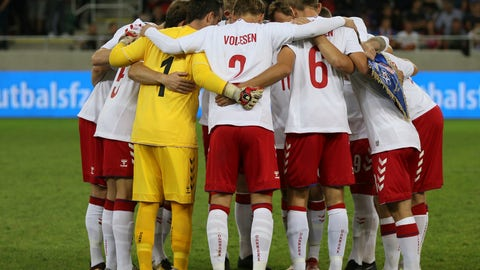 <p>               Denmark's amateur team stand together during a friendly soccer match between Slovakia and Denmark in Trnava, Slovakia, Wednesday, Sept. 5, 2018. Every player in Denmark's squad are uncapped following a dispute between Denmark's star players and the Danish Football Association. (AP Photo/Ronald Zak)             </p>