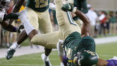 <p>               Baylor running back John Lovett (7) is upended by Abilene Christian safety Erik Huhn (4) during the first half of an NCAA college football game Saturday, Sept. 1, 2018, in Waco, Texas. (Jerry Larson/Waco Tribune Herald via AP)             </p>