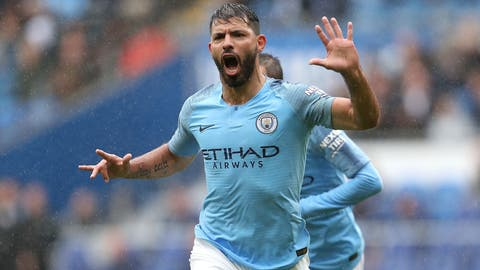 <p>               Manchester City's Sergio Aguero celebrates scoring his side's first goal of the game against Cardiff City during the English Premier League soccer match at The Cardiff City Stadium, in Cardiff, Wales, Saturday Sept. 22, 2018. (David Davies/PA via AP)             </p>