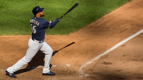 <p>               Milwaukee Brewers' Domingo Santana hits a home run against the Pittsburgh Pirates during the ninth inning of a baseball game Sunday, Sept. 16, 2018, in Milwaukee. (AP Photo/Darren Hauck)             </p>