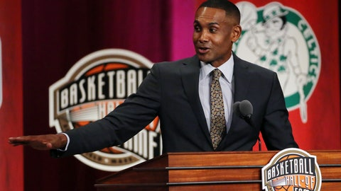 <p>               Grant Hill speaks during induction ceremonies for the Basketball Hall of Fame, Friday, Sept. 7, 2018, in Springfield, Mass. (AP Photo/Elise Amendola)             </p>