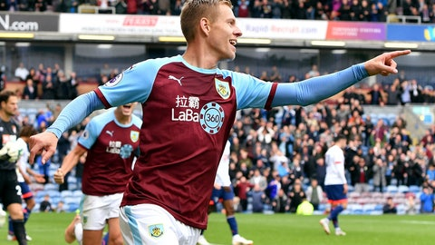 <p>               Burnley's Matej Vydra celebrates scoring his side's first goal of the game, during the English Premier League soccer match between Burnley and Bournemouth at Turf Moor, in  Burnley, England, Saturday, Sept. 22, 2018. (Anthony Devlin/PA via AP)             </p>