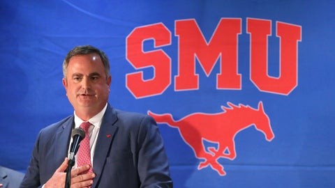 <p>               FILE - In this Dec. 12, 2017, file photo, new SMU football coach Sonny Dykes speaks after his introduction in Dallas. Dykes is a former Louisiana Tech and California coach who last season was an offensive analyst at TCU. SMU plays TCU this week. (AP Photo/LM Otero, File)             </p>