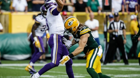 <p>               Green Bay Packers' Clay Matthews is called for a roughing the passer penalty during the second half of an NFL football game against the Minnesota Vikings Sunday, Sept. 16, 2018, in Green Bay, Wis. The game ended in a 29-29 tie. (AP Photo/Mike Roemer)             </p>
