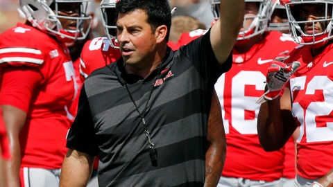 <p>               FILE - In this Saturday, Sept. 1, 2018, file photo, Ohio State's acting head coach Ryan Day directs warm-ups before an NCAA college football game against Oregon State in Columbus, Ohio. No. 15 TCU gets another chance for the Big 12 against No. 4 Ohio State. The Horned Frogs and Buckeyes will play Saturday night at the home stadium of the NFL's Dallas Cowboys. (AP Photo/Jay LaPrete, File)             </p>