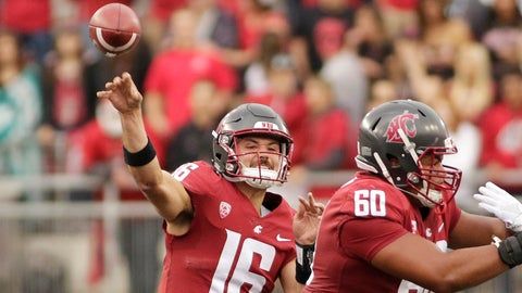<p>               Washington State quarterback Gardner Minshew II (16) throws a pass during the first half of an NCAA college football game against Eastern Washington in Pullman, Wash., Saturday, Sept. 15, 2018. (AP Photo/Young Kwak)             </p>
