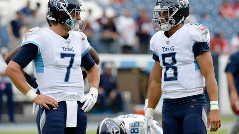 <p>               FILE - In this Sunday, Sept. 16, 2018, file photo, Tennessee Titans quarterbacks Blaine Gabbert (7) and Marcus Mariota (8) talk before an NFL football game against the Houston Texans in Nashville, Tenn. Mariota injured his right elbow in the season opener. If he doesn't improve, Gabbert would make his second straight start on Sunday against his old team the Jacksonville Jaguars. (AP Photo/Mark Zaleski, File)             </p>