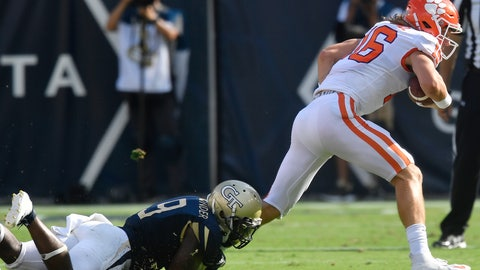 <p>               Georgia Tech linebacker Victor Alexander (9) tackles Clemson quarterback Trevor Lawrence (16) during the first half of an NCAA college football game, Saturday, Sept. 22, 2018, in Atlanta. (AP Photo/Mike Stewart)             </p>