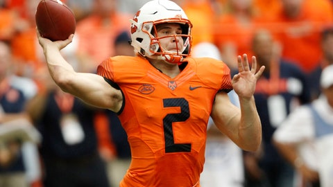 <p>               Syracuse's Eric Dungey passes in the first quarter of an NCAA college football game against Florida State in Syracuse, N.Y., Saturday, Sept. 15, 2018. (AP Photo/Nick Lisi)             </p>