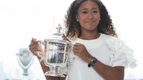 <p>               US Open women's singles champion Naomi Osaka poses for photographers with her trophy at Top of the Rock Observation Deck at Rockefeller Center, Sunday, Sept. 9, 2018, in New York. (AP Photo/Mary Altaffer)             </p>