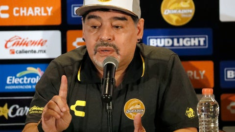 <p>               Former soccer great Diego Maradona speaks at a press conference where he was presented as the new manager of the Dorados of Sinaloa, in Culiacan, Mexico, Monday, Sept. 10, 2018. Maradona, whose public battles with cocaine made him soccer's poster child for the perils of substance abuse, is setting up camp in Mexico's drug cartel heartland as the new coach of a second-tier team. (AP Photo/Marco Ugarte)             </p>