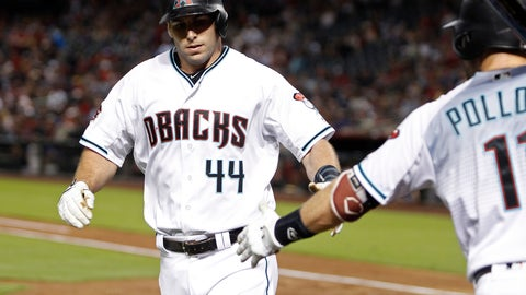 <p>               Arizona Diamondbacks' Paul Goldschmidt (44) is congratulated by teammate A.J. Pollock after hitting a solo home run against the Atlanta Braves during the first inning of a baseball game, Friday, Sept. 7, 2018, in Phoenix. (AP Photo/Ralph Freso)             </p>