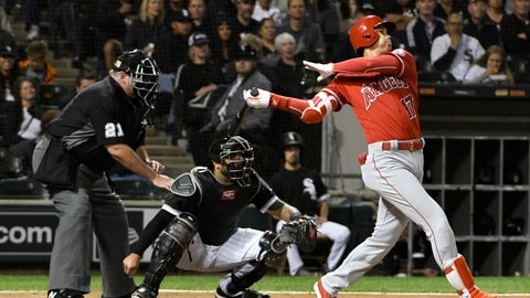 <p>               Los Angeles Angels' Shohei Ohtani (17) watches his three-run home run against the Chicago White Sox during the third inning of a baseball game, Friday, Sept. 7, 2018, in Chicago. (AP Photo/David Banks)             </p>